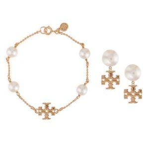 Tory Burch • Gold Milgrain Pearl Logo Set